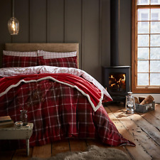 Catherine Lansfield Brushed Tartan Check 100 Cotton Duvet Cover Set Red King
