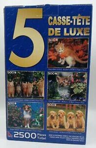 """New Sealed 5 Deluxe Jigsaw Puzzles In 1 Box 2500 Total Pieces 19""""x14"""" Dogs Cats"""