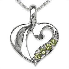 Collier/Kette mit grünem Peridot-Herz Anhänger 925-Silber Rhodiniert