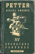 PETTER DIESEL ENGINE AV1 & AV2 OPERATORS MANUAL - AB2