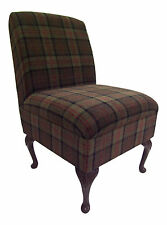 Bedroom Chair in Green Lana Tartan Fabric on Queen Anne Style Legs