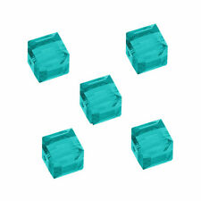 GLASS CUBE BEAD TURQUOISE BLUE FACETED SQUARE 4MM JEWELRY 100 BEADS STRANDS GC9