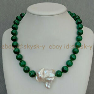 12mm Green Malachite Round Gems Beads & White Keshi Baroque Pearl Necklace 18''
