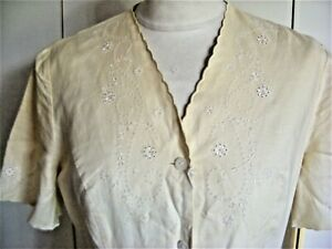 Vintage cotton & linen cream dress Laura Ashley embroidery pearl buttons size 10