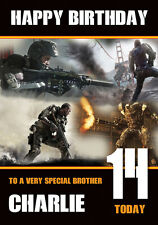 Personalised Call Of Duty Advance Warfare Birthday Card any name and age