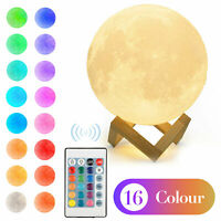 3D Moon Lamp Touch Moonlight USB LED Night Lunar Light 16 Color Changing Decor