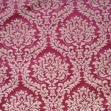 Upholstery DESIGNER FABRIC Brocade Damask JACUARD Cranberry wine Red Gold
