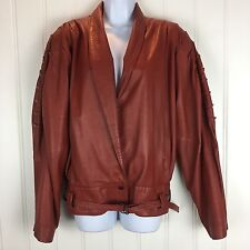 Vtg Lamb Leather Large Moto Jacket Red Worn Shoulder Pad Motorcycle Pintuck Coat