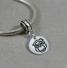925 Sterling Silver Graduation Owl Dangle Charm - fits European Bracelets NEW