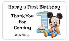 21 Personalised First Birthday Stickers/Party/Baby Boy/Mickey Mouse