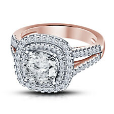 Ct Vvs1 Round Cut Diamond Engagement Ring 14K Rose Gold Over Double Halo 1.78