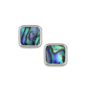 Square Stud Earrings Paua Abalone Shell  - Gift Boxed / Pouch