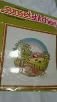 SUNSET STITCHERY COUNTED CROSS STITCH KIT COUNTRY MEADOW 2800 open & started
