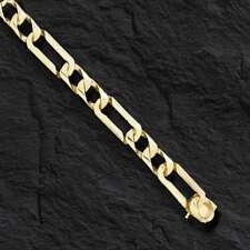 """14kt solid gold handmade Figaro Curb link mens bracelet 8"""" 22 grams 7MM"""