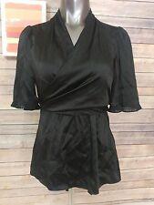 bcbg BCBG Max Azria womens size M wrap blouse 100% silk black