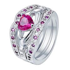 14k White Gold Irish Pink Sapphire Celtic Claddagh Wedding Band Ring Set Size 8