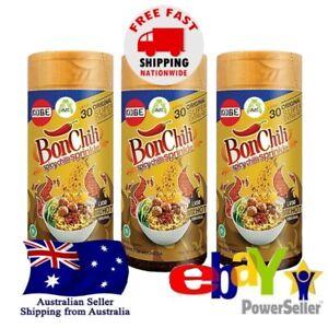 3x Kobe BonCabe Bon Chili Spicy Flakes Seasoning Level 30 Super Extra Hot Halal