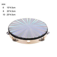 """6""""/8''/10"""" Reflective Tambourine Percussion Double Row-Stock Church Band Music"""