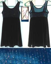 Ice Skating Roller Skating Dance Dress Black Glittery Teal velour Girls 6 8