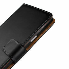 For Samsung Galaxy Note 5 Black Genuine Leather Cash Card Wallet Case Cover