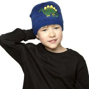 Boys Dinosaur Fleece-Lined Blue Knitted Hat