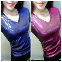Lady Metallic Shiny Pullover T Shirt Short Sleeve V Neck Sexy Slim Tops Fashion