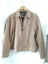 Polo Ralph Lauren Harrington Zip Jacket Coat Plaid Lining tan khaki Mens Size M
