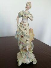 More details for continental porcelain lady figurine on rococo style pedestal