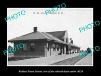 OLD LARGE HISTORIC PHOTO OF REDFIELD SOUTH DAKOTA RAILROAD DEPOT STATION c1920