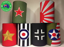6x Military WWII WW2 ALLIED AXIS Designer Beer Can Stubby Holder Cooler Koozie