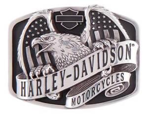 Harley-Davidson Men's Wings Over America Belt Buckle, Antique Silver HDMBU11402