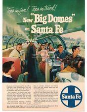 1954 SANTA FE Big Dome Observation Car Inside View VTG PRINT AD