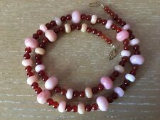 Pink Peruvian Opal & Orange Carnelian Gemstone Beaded Bead Necklace JEWELRY