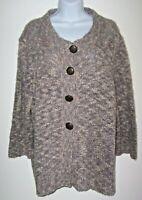 CJ Banks Chunky Cardigan Sweater Plus Sz 2X Gray/White Knobby Knit Fancy Buttons