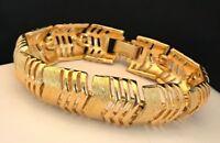 Signed Monet Bracelet Chunky Link Gold Tone Classic Vintage 2C