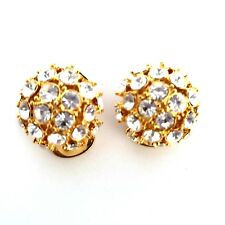 NOLAN MILLER Rhinestone Clip On Earrings Domed Button Gold Tone Crystal Signed