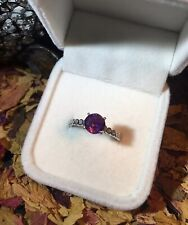 Magnificent natural Certified Untreated Purple Sapphire 7mm silver ring 7.5US 🔮