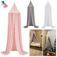 Kids Princess Dome Bed Canopy Mosquito Net Pompoms Curtain Bedding Hanging Tents