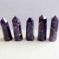 Natural`Purple Dream Amethyst Quartz Crystal Stone Point Healing Hexagonal Wand.