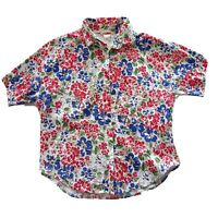 Target Vintage Size 12 Floral All Cotton Bright Short Sleeve Blouse Top Womens