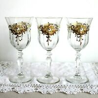 3 x Vintage Goblets Wine Glasses Table Decor Gift Hand Painted Golden Decor