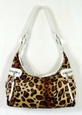 Kathy Van Zeeland Leopard Shoulder Bag w/ White Embossed Croc Detail Purse EUC