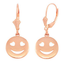 14k Solid Rose Gold Heart Eyes Smiley Face Round Drop/Dangle Leverback Earring