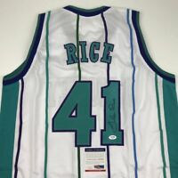 Autographed/Signed GLEN RICE Charlotte White Basketball Jersey PSA/DNA COA Auto