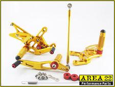 Area 22 Adjustable Rear Sets Footpegs Gold Rearsets Suzuki GSXR600 2008 - 2012