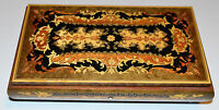 "Vintage REUGE Swiss Music Jewelry Box ""Funiculi Funicula"" Marquetry Inlaid Wood"