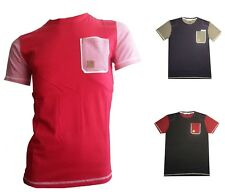 NEW MENS DESIGNER STRENGTH & HONOUR STRIPED CASUAL POCKET T SHIRT TOP T3118