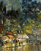 Art Giclee Print Night Paris street Oil painting Hd Printed on Canvas P582