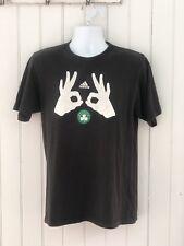 ADIDAS Boston Basketball Celtics Clover Graphic Black Crew T Shirt Mens M Flaw m