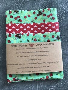 Beeswax Wraps Cotton UK Lincolnshire Beeswax  Kitchen Pack OF 3 - Lg Med & Sm